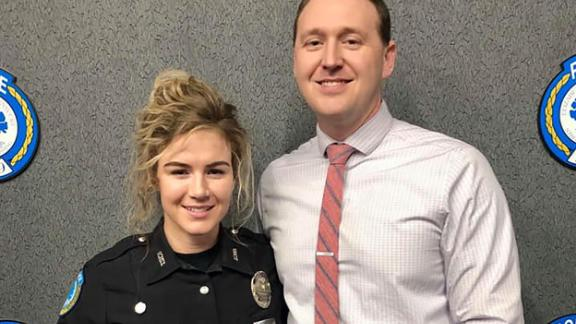 Kentucky police officers Nicole and Chase McKeown stopped a robber on their weekly date night. (Photo provided by Louisville Metro Police via CNN)