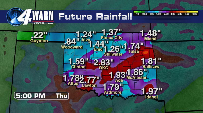 Rain Totals Through Thursday