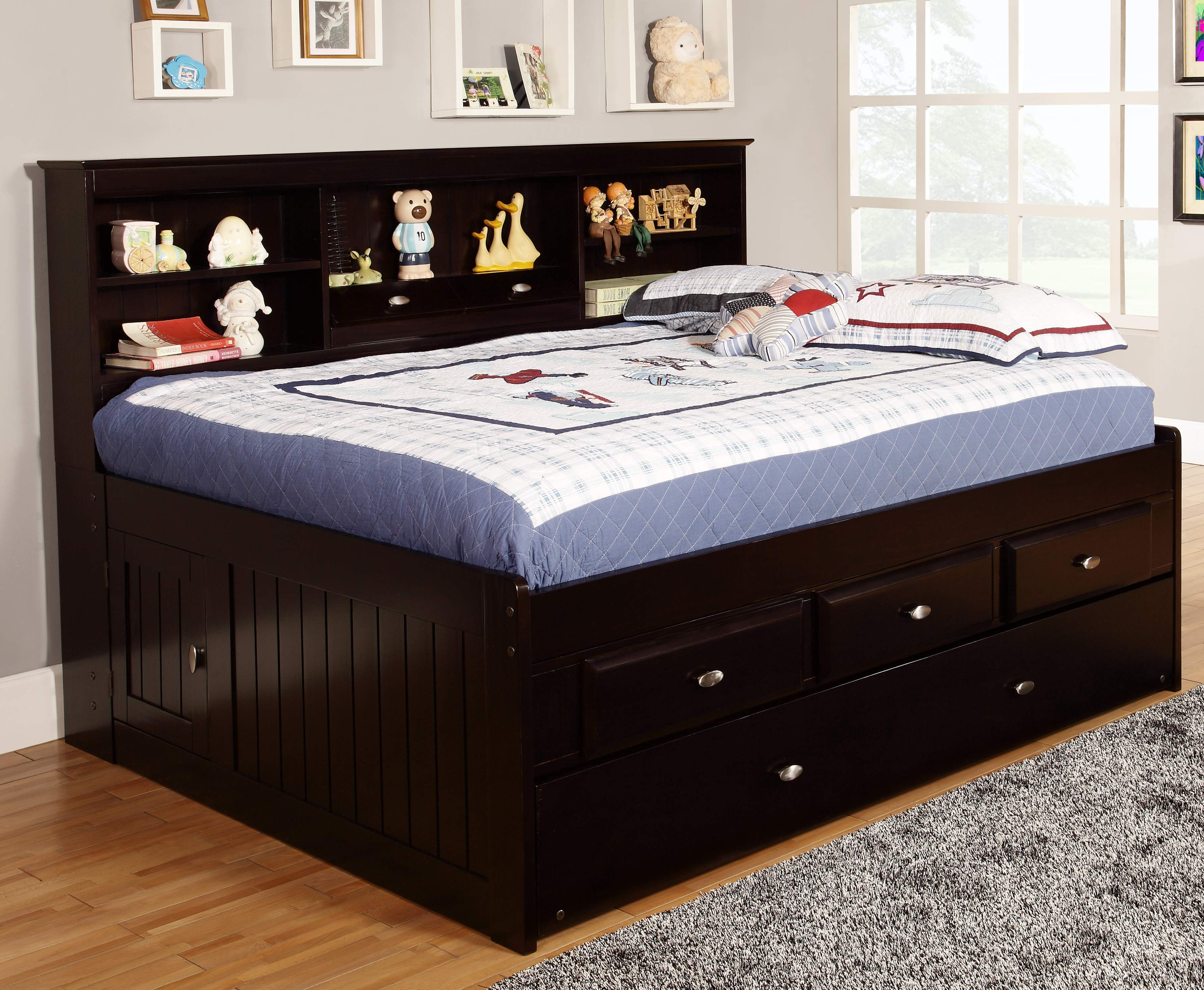 Discovery World Furniture Espresso Full Captain Day Beds