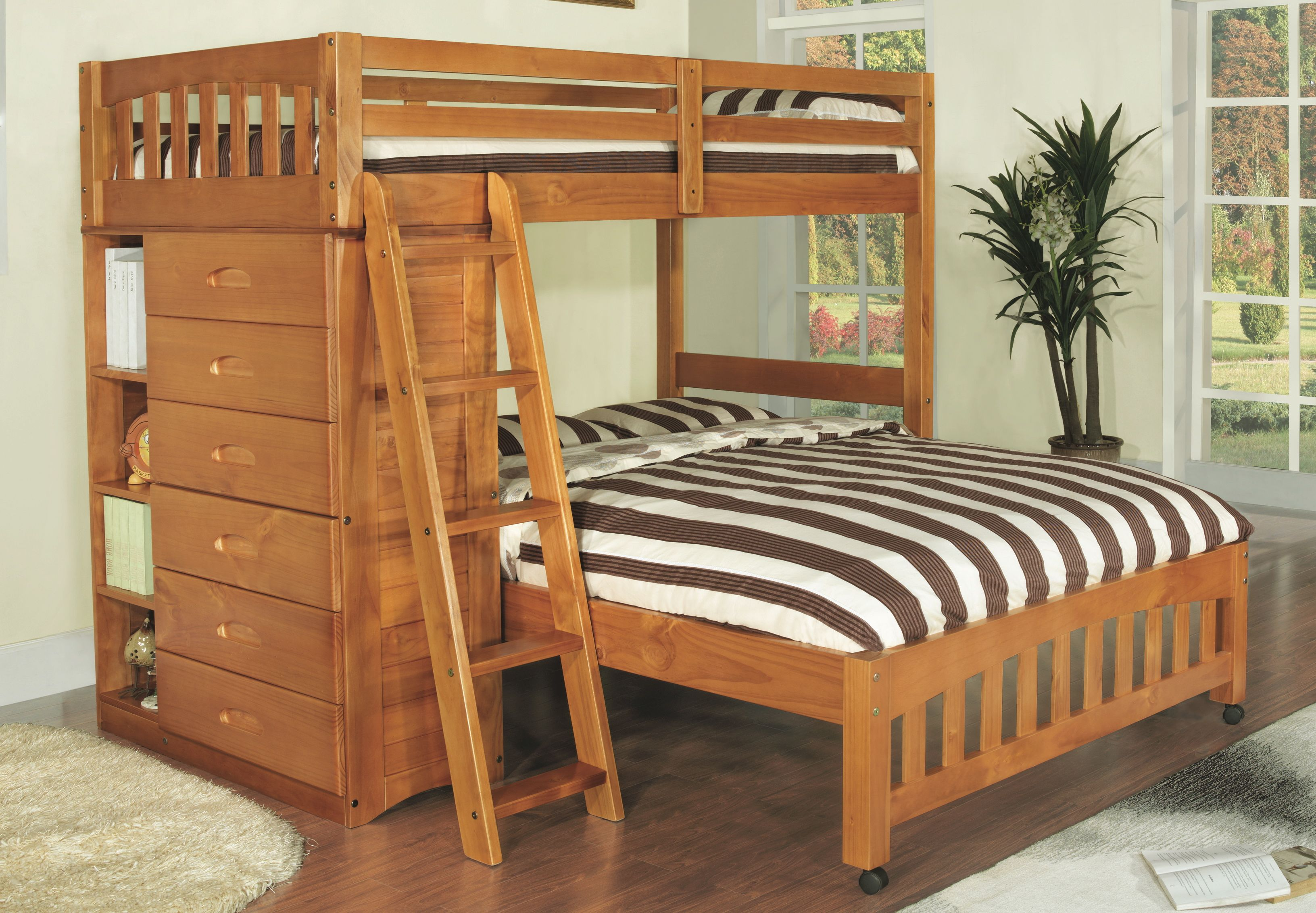 Discovery World Furniture Twin Over Full Honey Loft Bunk