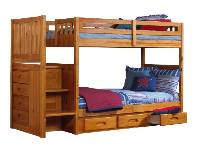 Discovery World Furniture Twin Over Honey Mission Staircase Bunk Beds