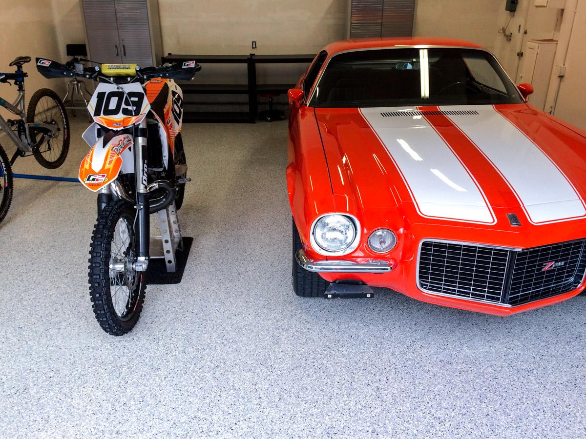 Utah Garage Epoxy Floor Coating - Cottonwood Heights 3 Car Garage - Camaro and Motorcycle
