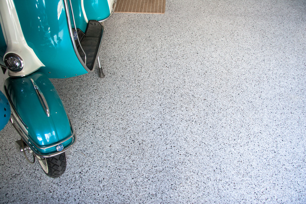 Cottonwood Heights Utah Garage Epoxy Floor Coating - Detail with Scooter