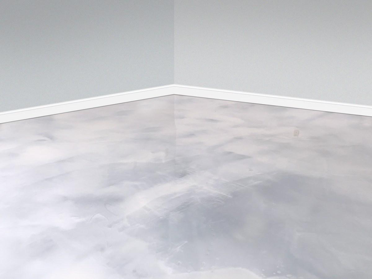 white metallic basement floor