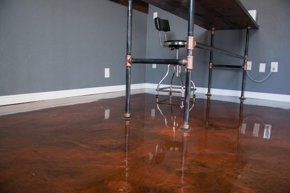 metallic epoxy floor in home office