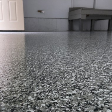 epoxy garage floor full broadcast