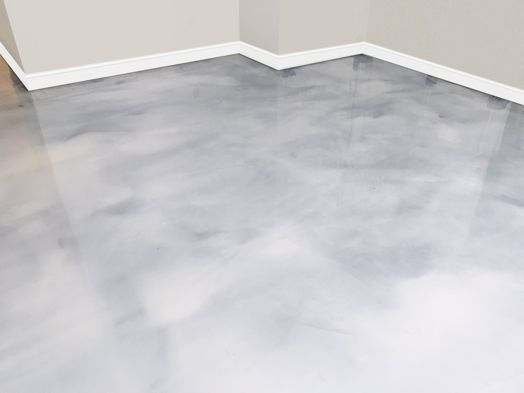 Residential Basement Platinum Metallic Epoxy Floor