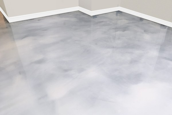 white metallic epoxy floor