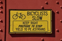 Cycling notice on the Golden Gate Bridge