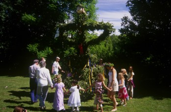 Dancing around the Midsummer Pole in Sweden