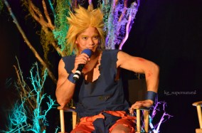 Osric Chau cosplaying as a character from Dragon Ball Z