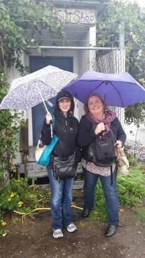 Rachel and I in the rain