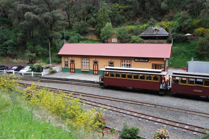 Walhalla Goldfields Railway tourist train at Walhalla station