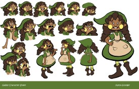 Character sheet for Gabby, a mischievous, excitable girl who's considered an annoyance by majority of the town.