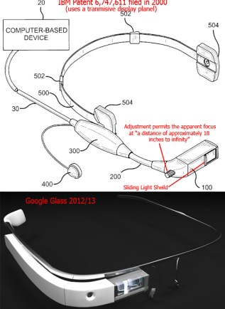 IBM Patent from 2000 to Google Glass Comparison