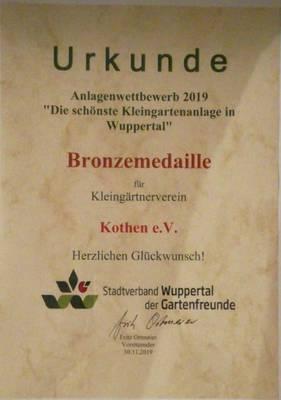 Urkunde Anlagenwettbewerb 2019