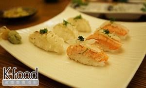 《義郎創作壽司》炙燒側緣比目魚與炙燒鮭魚肚握壽司
