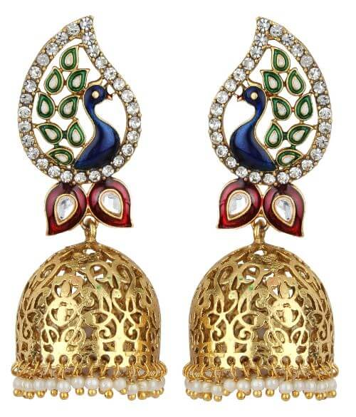 Angel In You Exclusive Golden white Green Maroon Blue Multi Colour Earrings. M-1312