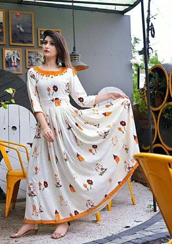 CYNCA Women's white Printed anarkali cotton kurti kurtis for women