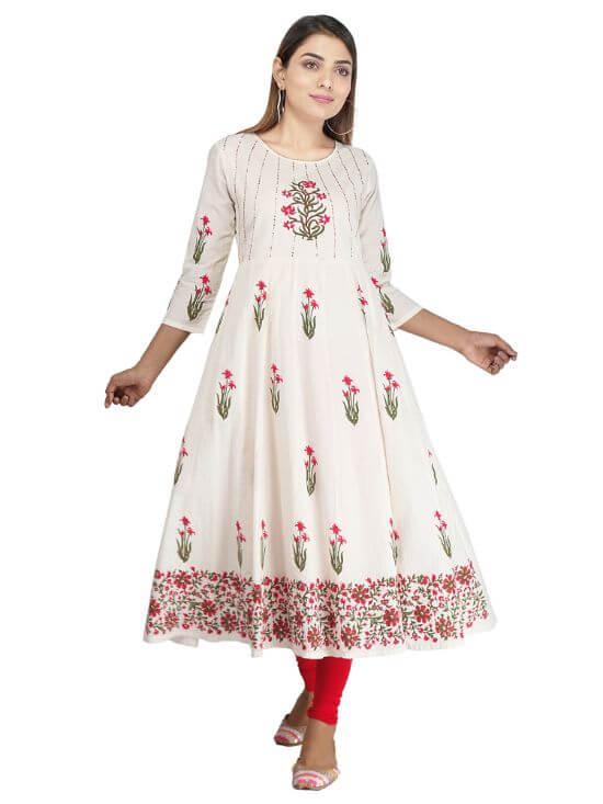 Diva Impex Women's Cotton Floral Pattern Round Neck Calf Length Kurta