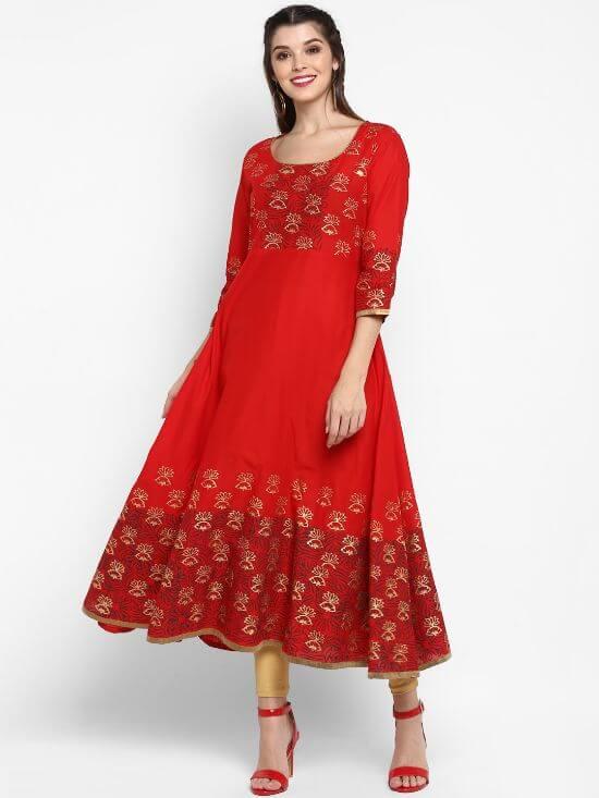 G Women Red Designer Anarkali Kurta