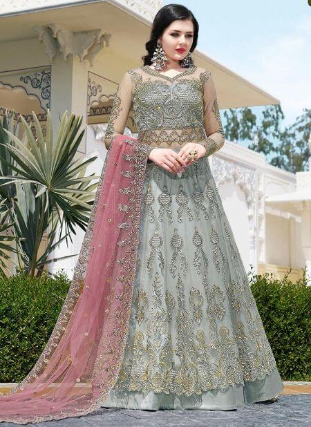 Grey Embroidered Long Choli Anarkali Lehenga