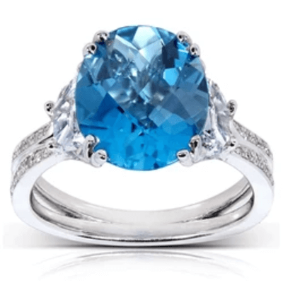 OVAL LONDON BLUE TOPAZ & FANCY DIAMOND