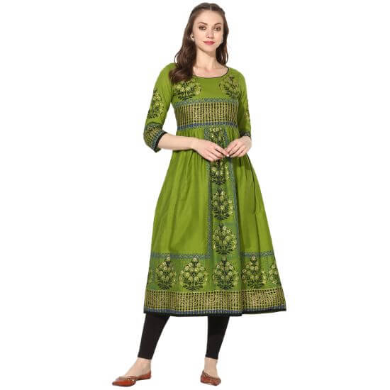 Varkha Fashion Mehandi Floral Print A line Kurta