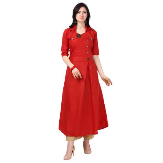 Vkaran Red Slub Cotton Embellished Stitched Kurtas For Women
