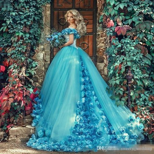 2018 Jade Blue masquerade Ball Gown Quinceanera Dresses with Handmade Flowers Off the shoulder Court Train Tulle Prom sweet 16 Dress