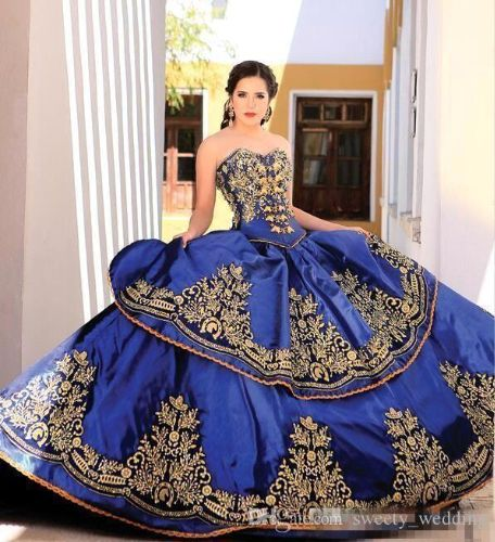 2019 Elegant Blue Sweetheart Embroidery Ball Gown Princess Quinceanera Dresses Lace Bodice Waist Backless Prom Dresses Quinceanera Gowns