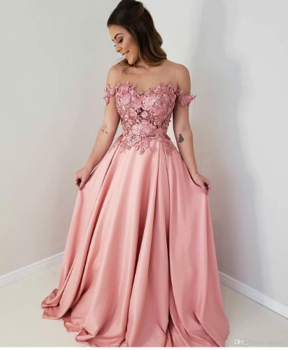 2019 Sexy Pink Off The Shoulder A Line Lace Chiffon Prom Dresses Long Evening Gowns Party Formal Dress