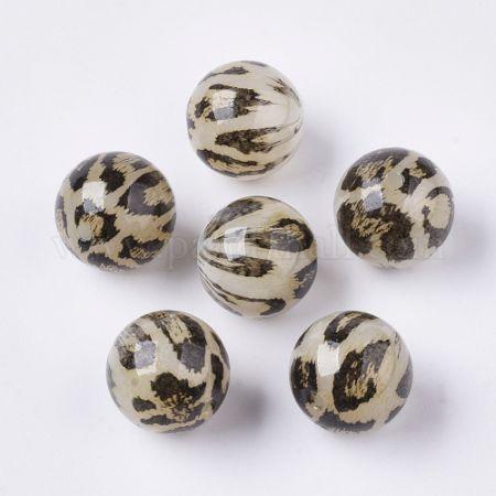 Acrylic Beads, Imitation Leopard Skins, Round, Chocolate, 20mm, Hole: 3mm. (X-OACR-N006-01B)