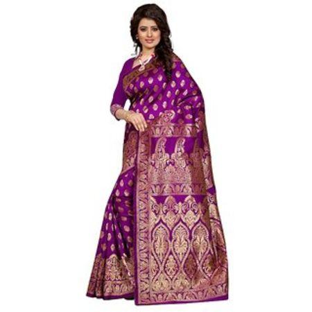 Ajira Black Banarasi Silk Self Design Saree With Blouse 03
