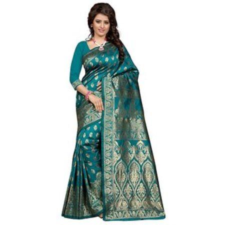 Ajira Black Banarasi Silk Self Design Saree With Blouse 04