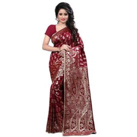 Ajira Black Banarasi Silk Self Design Saree With Blouse