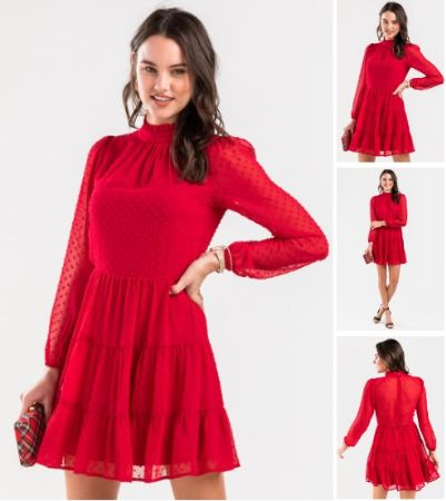Angelica Tiered Swiss Dot Mini Dress