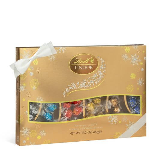 Assorted 6-Flavor LINDOR Holiday Sampler Gift Box (36-pc, 15.2 oz)