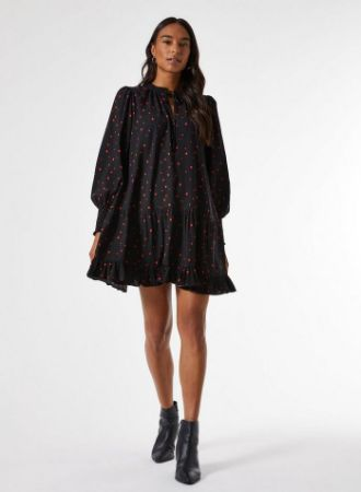 Black Heart Print Smock Mini Dress