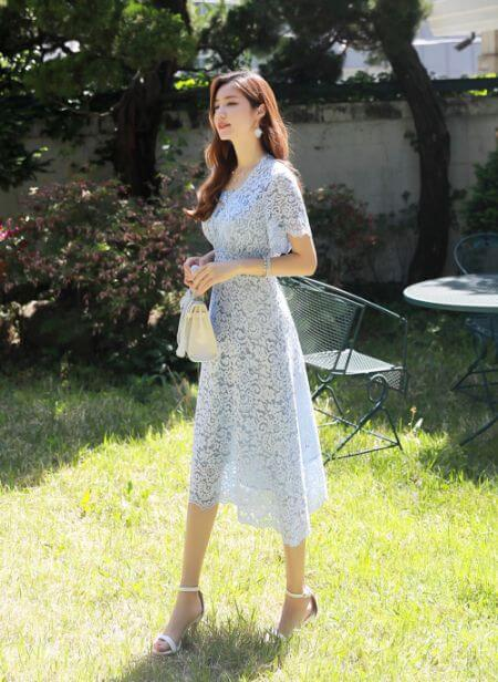 Blue Floral Lace Flared Dress