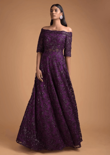 Byzantine Purple Off Shoulder Gown Adorned In Embossed Thread And Sequin Embroidery Online