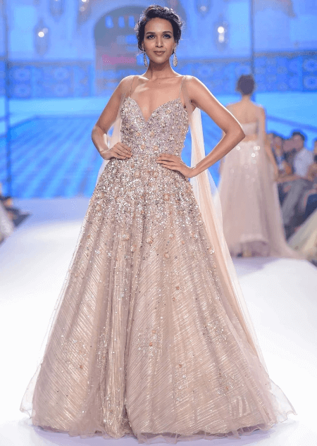 Champagne Beige Gown In Embroidered Net With Front And Back Attached Drape Online