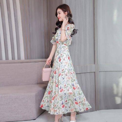 Chiffon High Waist Over The Knee Floral Dress