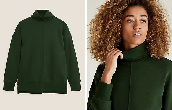 Cotton Funnel Neck Long Sleeve Sweatshirt