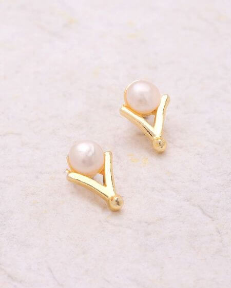 Gold Plated Stud Earrings with Pearls