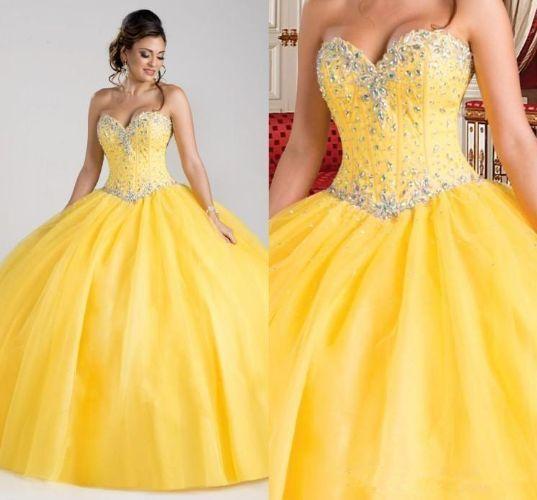 Gorgeous Princess Yellow Quinceanera Dresses Beaded Crystal Ball Gowns 2020 New Arrival Sweet 16 Dress vestidos de 15 anos Cheap Debutante