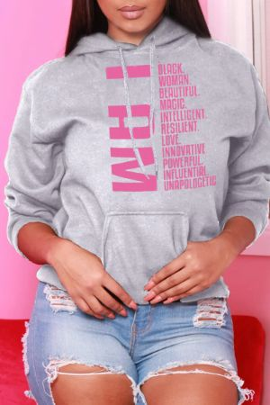 Grey Fashion Casual Letter Print Basic Hooded Collar Tops