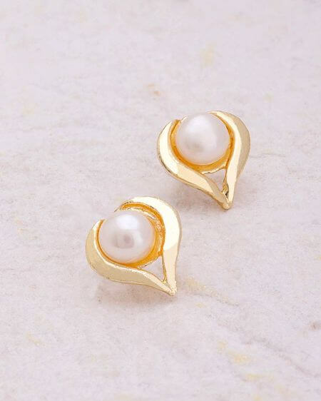 Heart-Inspired Gold Plated Stud Earrings