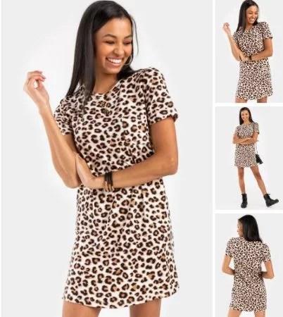 Keller Leopard Shift Mini Dress