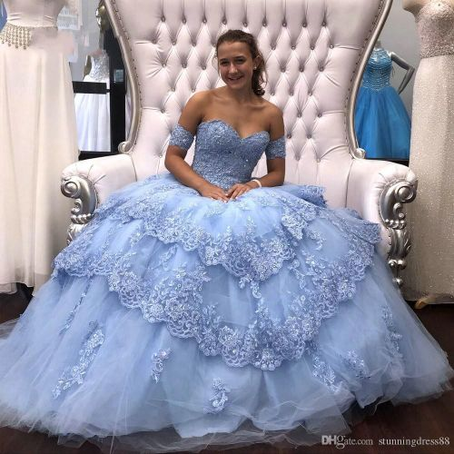 Light Sky Blue Modest Lace Ball Gown Quinceanera Prom dresses Sequins Applique Tulle Off the shoulder Formal Party Sweet 16 Dress